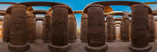 360°-Panorama in der Großen Säulenhalle des Karnak-Tempels in Luxor (Ägypten) - Bild 2