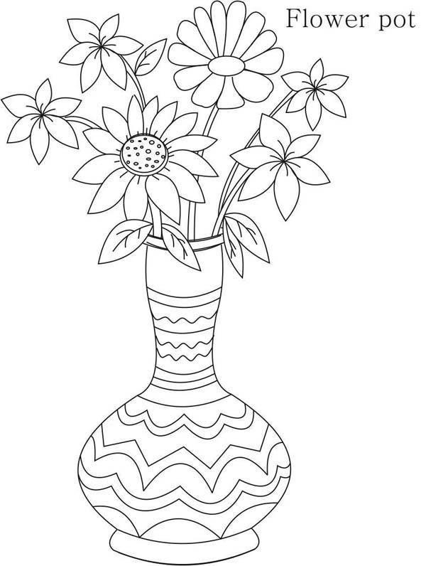 Tegninger til Farvelægning Blomster Vaser 31