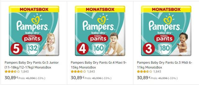 Pampers Baby Dry Pants 33% sparen