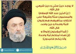 الامين   لا يوجد دين سني ودين شيعي. قال الله (إن الدّين عند الله الإسلام(