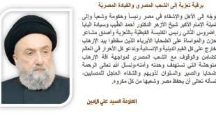 الامين | العلاّمة السيد علي الأمين في برقية تعزية إلى الشعب المصري والقيادة المصريّة