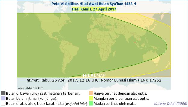 Peta visibilitas hilal Sya'ban 1437 H, pada hari Kamis, 27 April 2017. Hampir seluruh wilayah dunia akan bisa menyaksikan hilal awal Sya'ban 1437 H. Dengan demikian 1 Sya'ban 1438 H jatuh pada Jum'at, 28 April 2017 M.