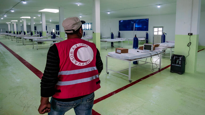 A 120-bed ward at a specialized hospital for coronavirus cases inaugurated by the Kurdish Red Crescent around 10 kilometers (6 miles) outside the city of Hasakeh after the first COVID-19 death was reported in the northeastern region, Syria, April 20, 2020.
