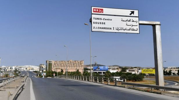 A highway remains deserted during a lockdown imposed by the Tunisian authorities.