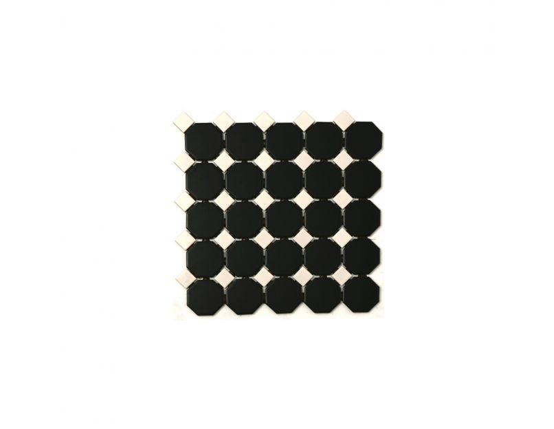 octagon black white matt gloss 29 5cm x 29 5cm mosaic tile
