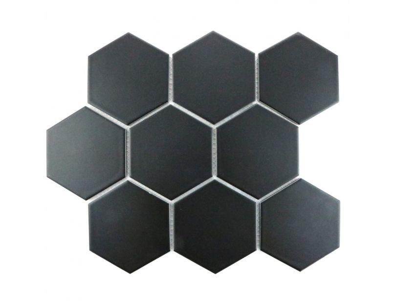 black matt hexagon mosaic tile