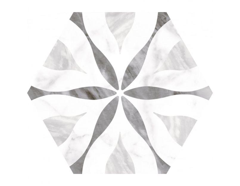 bardiglio flower 17 5cm x 20cm hexagon wall floor tile