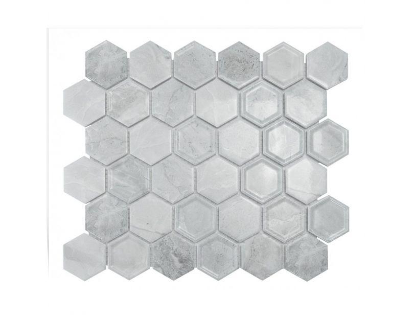white matt hexagon mosaic tile