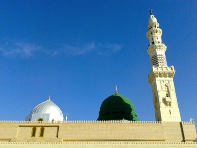 Prophet Muhammad's (Peace Be Unto Him) final resting place is underneath the green dome.