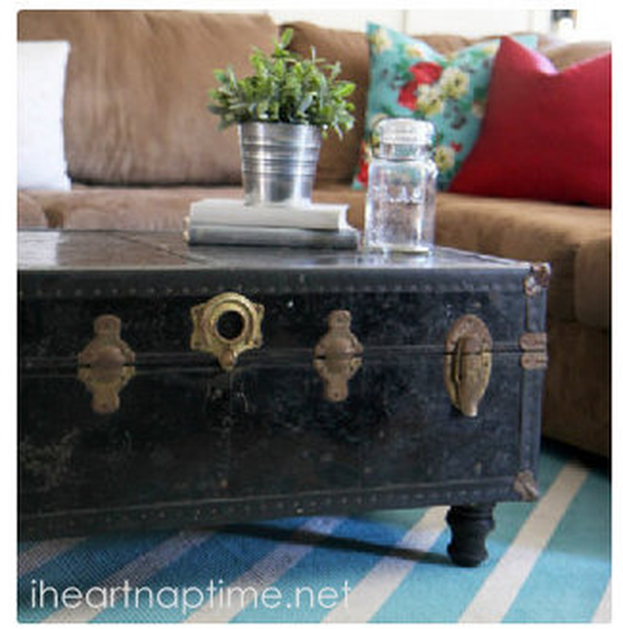 turn an old chest into a coffee table