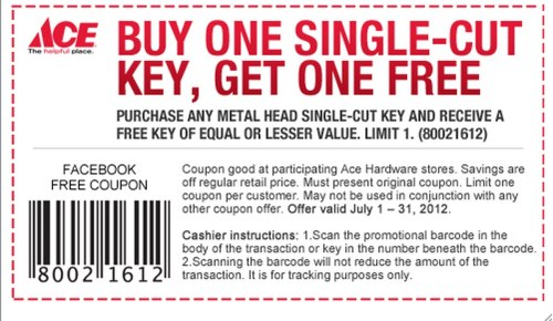 small resolution of ace hardware buy one single cut key get one free printable coupon al com