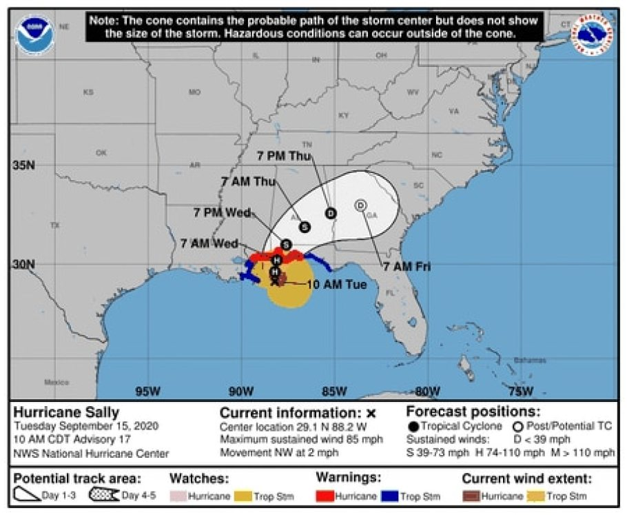 Hurricane Sally track 10 a.m. Tuesday