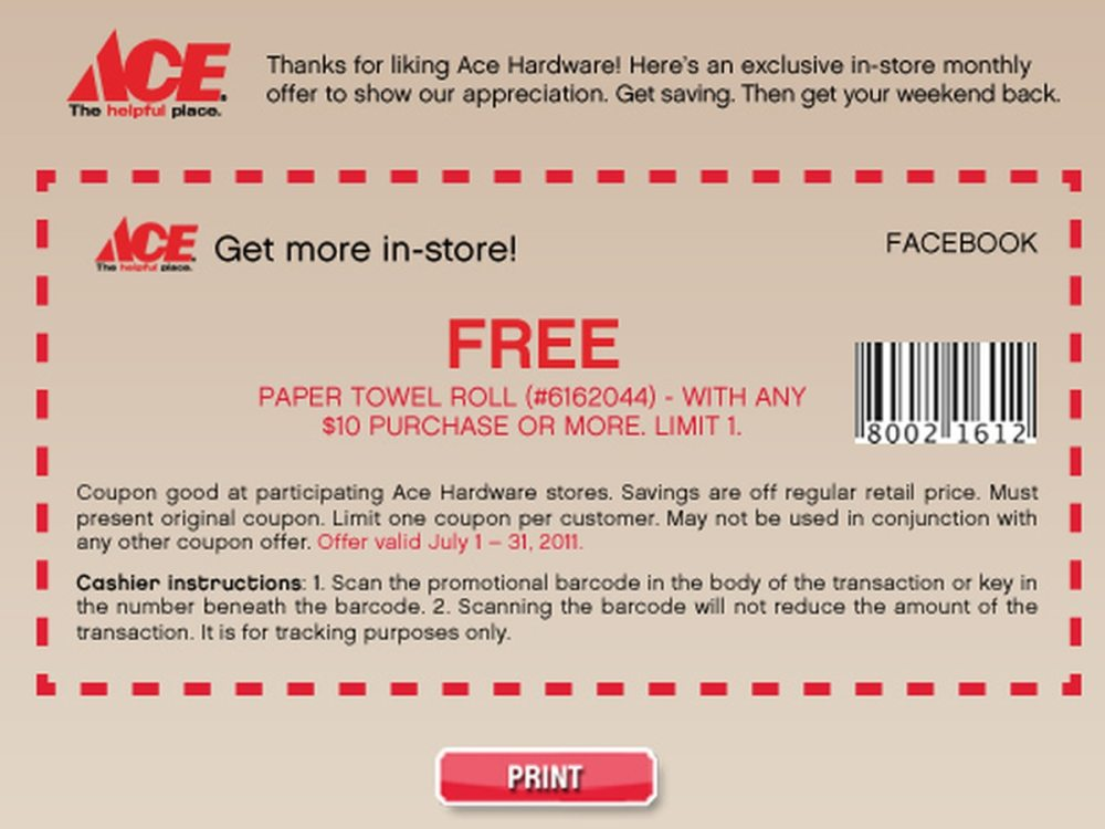 medium resolution of ace hardware free paper towels with 10 purchase coupon