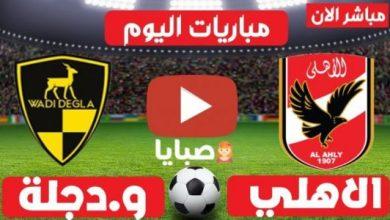 نتيجة مباراة الأهلي ووادي دجلة اليوم 4-8-2021 الدوري المصري