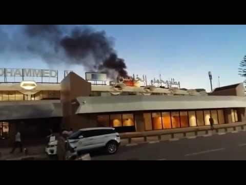 حريق مهول بمطار محمد الخامس
