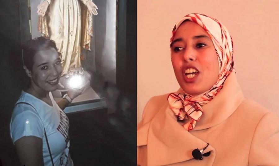 الثالثة ثابتة.. بالصور، ماء العينين دون حجاب مرة أخرى بجانب السيدة العذراء بباريس!