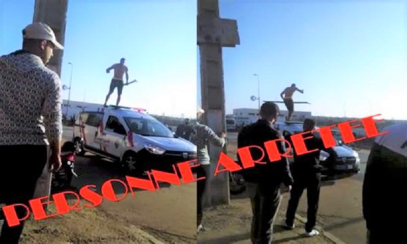 القنيطرة. مجرم هائج يهاجم رجال الشرطة ويستولي على سياراتهم