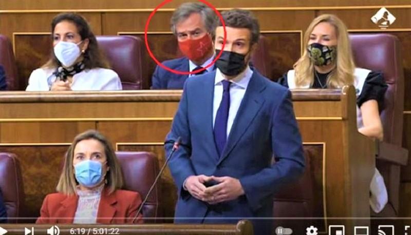 قربلة في البرلمان الاسباني واتهامات بالخيانة، والسبب: كمامة مغربية