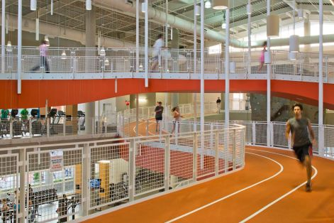 Auburn's student recreation center has one of the nation's longest indoor tracks. (Photo courtesy of HOK)