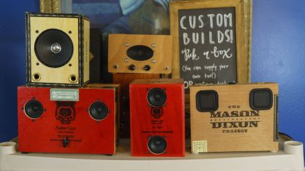 """Gabe turns old cigar boxes, coffee containers and even empty oil cans into guitar amps. """"It's a little tricky,"""" he says. """"But from the beginning I wanted this to be about more than just the electronics."""" (Mark Sandlin/Alabama NewsCenter)"""