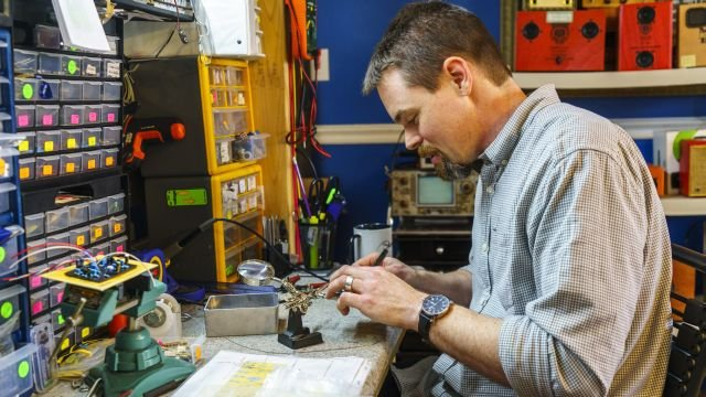 Musician and craftsman Gabe Williams creates custom-made stereos, amplifiers and other electronic tools