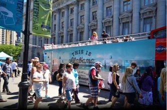 "A New York City tour bus gives riders a ""tour of Alabama,"" with several stops promoting the Southern state as a good place to vacation. (Contributed)"