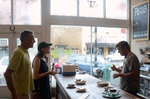 Seaborn Whatley, right, tells Iander and Beckie Allen about Pie Lab. The Allens put Pie Lab on their itinerary as the passed through from Arlington, Va. (Karim Shamsi-Basha / Alabama NewsCenter)
