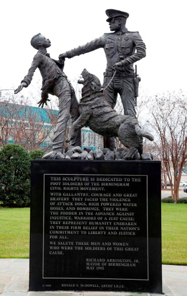 A sculpture dedicated to the foot soldiers of the Birmingham civil rights movement in Kelly Ingram Park. (Carol Highsmith/Library of Congress)