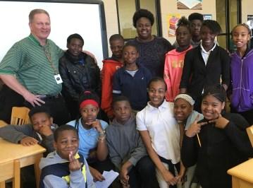 Hudson K-8 School teacher James Jones, back left, is a Fusion NextGen finalist. (Brittany Faush-Johnson/Alabama NewsCenter)