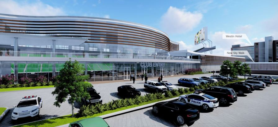 An exterior look of the proposed stadium concept. (Populous)