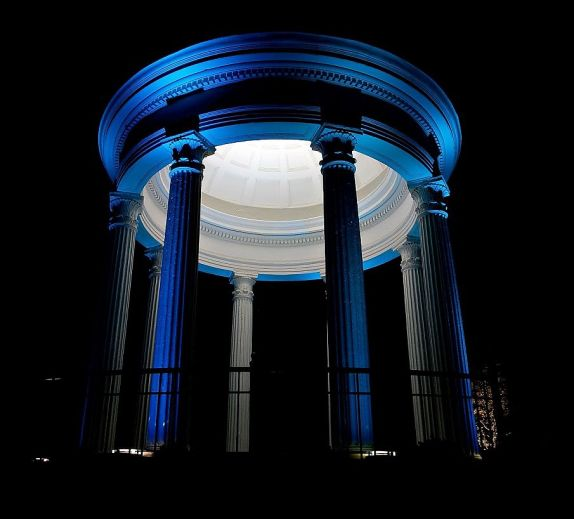 The historic Syble Temple in Vestavia Hills is lit in blue. (Ann Rayburn - Alabama Organ Center)