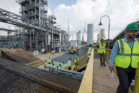 Global CCS experts visit the National Carbon Capture Center's post-combustion carbon capture facility at Alabama Power's Plant Gaston. (Wynter Byrd / Alabama NewsCenter)