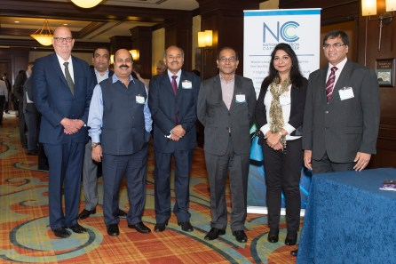 From left, Frank Morton, Southern Company business development manager, with a VIP delegation from the India government, including: N.A. Ramakrishnan, general manager, National Thermal Power Limited; Dr. Sarat Kumar Acharya, chairman, Neyveli Lignite Corporation; Susheel Kumar, secretary, India Ministry of Coal: Dr. Prabhat Ranjan, executive director, India's Technology Information Forecasting and Assessment Council (TIFAC); Sangeeeta Bakshi, scientist, TIFAC; and Peeyush Kumar, director, Ministry of Coal. (Wynter Byrd / Alabama NewsCenter)