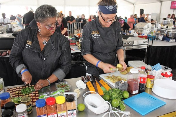 Competitors prep their ingredients at the World Food Championships in Orange Beach. (Robert DeWitt / Alabama NewsCenter)