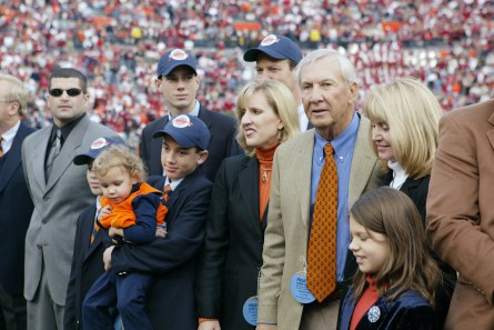 A ceremony honors former Auburn Tigers head coach Pat Dye for his induction to the College Football Hall of Fame during the game against the Alabama Crimson Tide at Jordan-Hare Stadium on Nov. 19, 2005, in Auburn. The field at Jordan-Hare Stadium was also christened Pat Dye Field. Auburn defeated Alabama 28-18. (Chris Graythen/Getty Images)