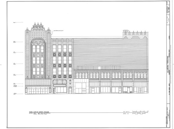 Historic American Buildings Survey drawing of the Alabama Theatre, Birmingham. (Library of Congress Prints and Photographs Division)