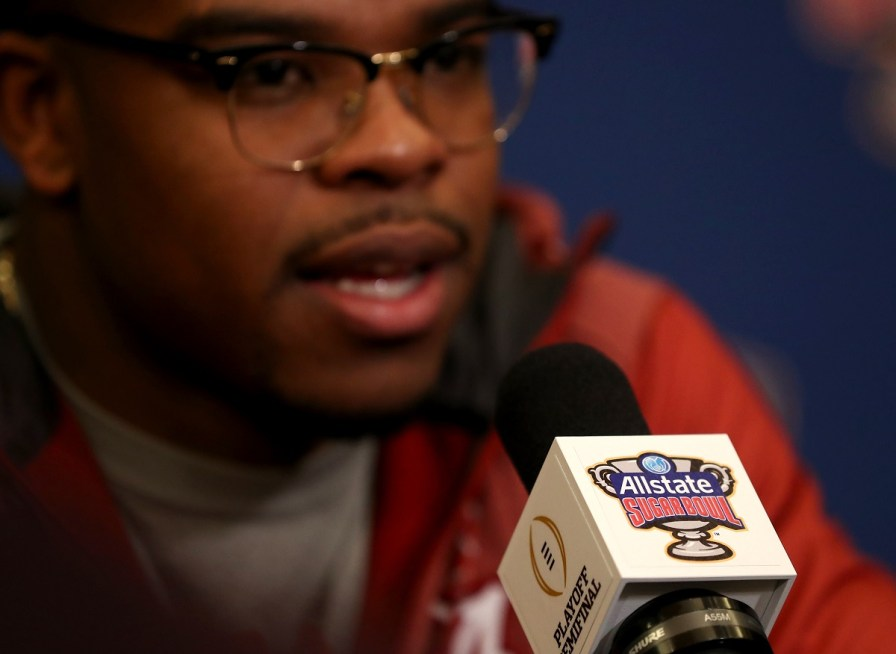 Alabama running back Damien Harris (34) answers a question during a Sugar Bowl press conference in New Orleans. (Kent Gidley / University of Alabama Athletics)
