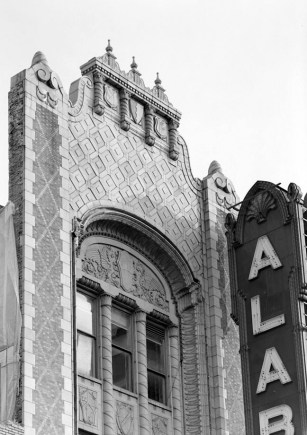 Front façade and exterior sign, Alabama Theatre, Birmingham. (HABS, Library of Congress Prints and Photographs Division)