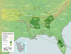 Map showing the Cherokee Trail of Tears and other forced relocation marches. (U.S. National Library of Medicine)