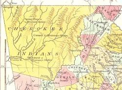 Map of Georgia (detail showing Cherokee Indian territory), 1830. (Anthony Finley Co., WillOakland, Wikipedia)