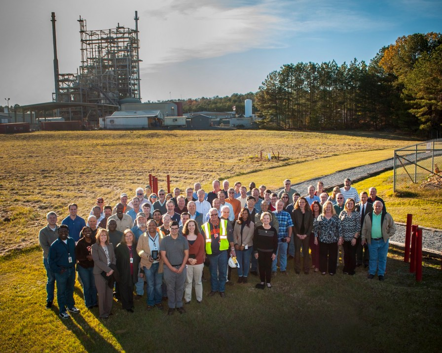 Around 80 current and former employees gathered in Wilsonville to celebrate the National Carbon Capture Center's 100,000 hours milestone. (Billy Brown)