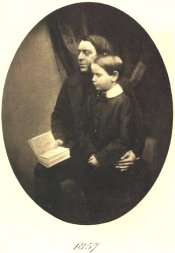 Philip Henry Gosse with his only child, Edmund William Gosse, in 1857. Edmund Gosse became a celebrated writer and critic, best known for his autobiographical book Father and Son about his relationship with his father.