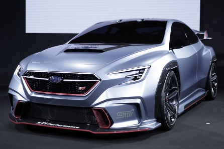 A Subaru Corp. Viziv STI Performance concept vehicle stands on display at the Tokyo Auto Salon. (Kiyoshi Ota/Bloomberg)