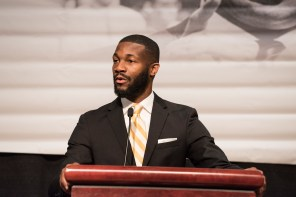 Birmingham Mayor Randall Woodfin brings greetings at the King Unity breakfast. (Chris Jones/Alabama NewsCenter)