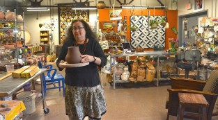Guadalupe Lanning Robinson of Guadalupe Pots is making pottery in Alabama in the Aztec tradition. (Karim Shamsi-Basha / Alabama NewsCenter)