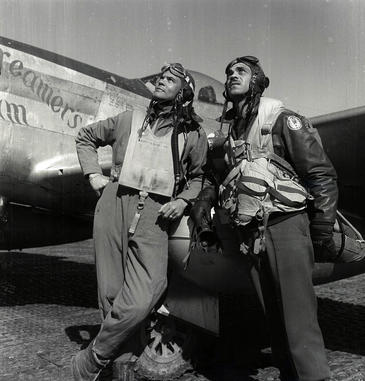 Col. Benjamin O. Davis and Edward C. Gleed, wearing flight gear, at air base at Rametti, Italy. (Library of Congress Prints and Photographs Division)
