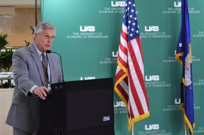 Ferniany thanked the airmen for their contributions to their country and UAB Hospital. (Donna Cope/Alabama NewsCenter)
