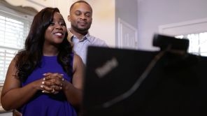 Lights on! The Newlyweds record an episode of the vlog from their home studio. (Bruce Nix/Alabama NewsCenter)