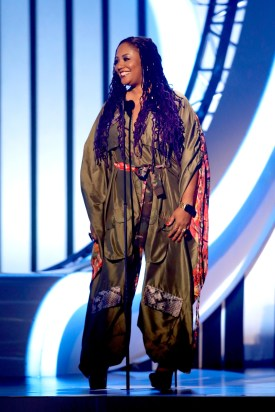 Lalah Hathaway speaks onstage at the 2017 Soul Train Awards, presented by BET, at the Orleans Arena on November 5, 2017 in Las Vegas, Nevada. (Isaac Brekken/Getty Images for BET)