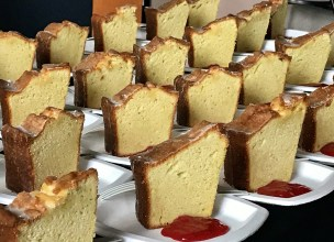 Dolester Miles' golden corncake with strawberry preserves was a treat for those attending the SFA symposium. (Susan Swagler / Alabama NewsCenter)